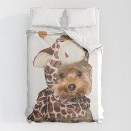Yorkie in Giraffe Costume | Dogs Duvet Cover