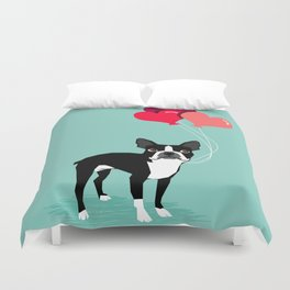 Boston Terrier Valentine heart balloons for pet owners and dog lovers gift for someone they love Duvet Cover