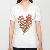 tulips V-neck T-shirts featuring Tulips by June Chang Studio