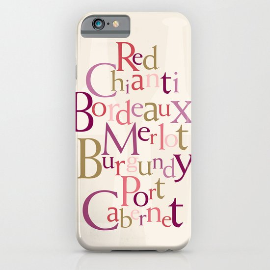 red wine words iPhone & iPod Case