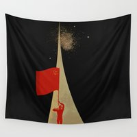 propaganda Wall Tapestries featuring all the way up to the stars - soviet union propaganda by Sofia Youshi