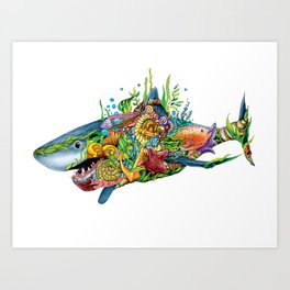 Colored Sea Shark Art Print