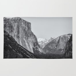 El Capitan, Half Dome and Sentinel Rock from Tunnel View bw Rug