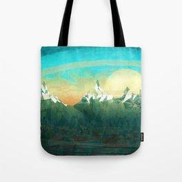Mountains abowe the blue sky Tote Bag