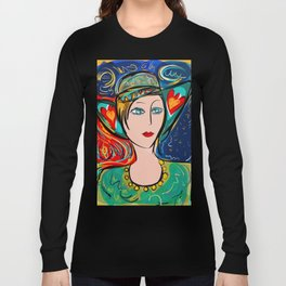 Pop Girl Art Deco with Hat and hearts Long Sleeve T-shirt