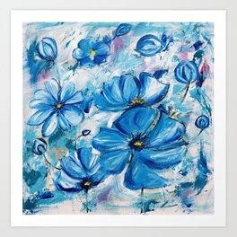 Abstract Blue Poppies Art Print