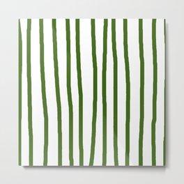 Simply Drawn Vertical Stripes in Jungle Green Metal Print