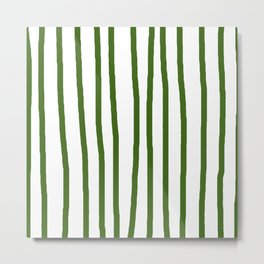 Simply Drawn Vertical Stripes in Jungle Green Metal Print