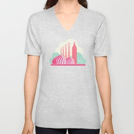 Kansas City in the Clouds - Pink Unisex V-Neck