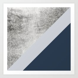 Modern minimalist navy blue grey and silver foil geometric color block Kunstdrucke