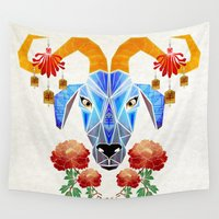 chinese Wall Tapestries featuring chinese goat by Manoou