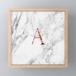 Monogram rose gold marble A Framed Mini Art Print