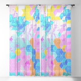 Pop Floral Cube Pattern 1 #fashion #pattern #lifestyle Sheer Curtain