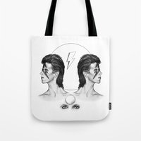 david bowie Tote Bags featuring Bowie  by Tate Eknaian