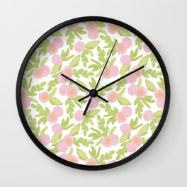 watercolor pink flowers Wall Clock
