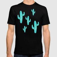 Linocut Cacti Desert Mens Fitted Tee MEDIUM Black
