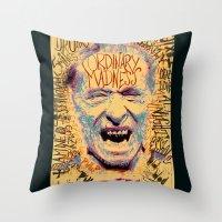 bukowski Throw Pillows featuring Charles Bukowski by Kori Levy illustration & design