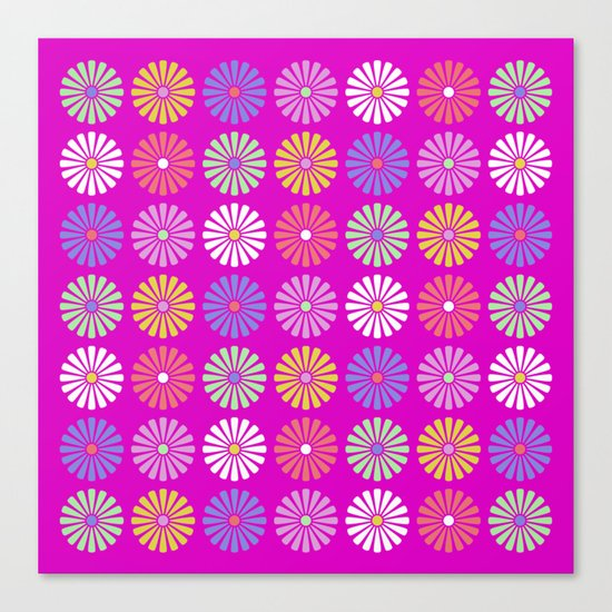 Pastel Flowers Pattern (On Purple/Pink) Canvas Print