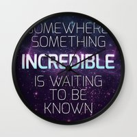 carl sagan Wall Clocks featuring Incredible - Carl Sagan Quote by Nicholas Redfunkovich