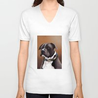 bull terrier V-neck T-shirts featuring Staffordshire bull terrier 2 by Carl Conway