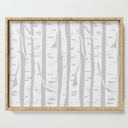 Woodcut Birches Grey Serving Tray