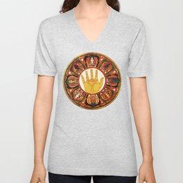 Buddhist Hindu Healing Hand Mandala Unisex V-Neck