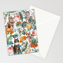 Cat and Floral Pattern III Stationery Cards