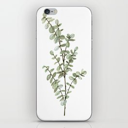 Baby Blue Eucalyptus Watercolor Painting iPhone Skin