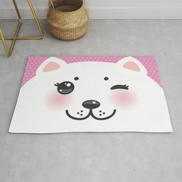 Cute Cartoon Kawaii funny white cat muzzle with pink cheeks and wink eyes on a lilac. Nursery decor Rug