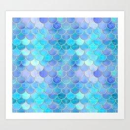 Aqua Pearlescent & Gold Mermaid Scale Pattern Art Print