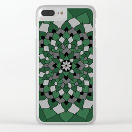 Green & Silver Floral Mandala Clear iPhone Case