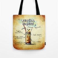 tequila Tote Bags featuring Tequila Sunrise by jamfoto