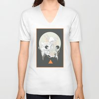 stone V-neck T-shirts featuring moon stone by CASSIDY RAE MARIETTA