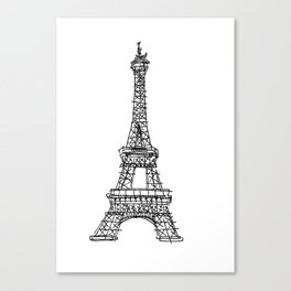Eiffel Tower Graphic Pen Sketch Canvas Print