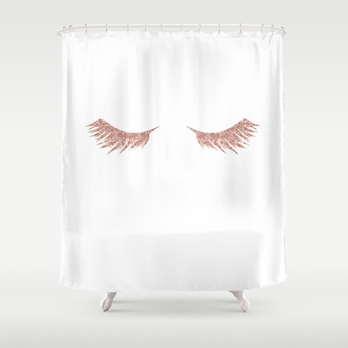 Pretty Lashes Rose Gold Glitter Pink Shower Curtain by ...