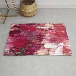 Sunset in the Valley [2]: a colorful abstract piece in reds, pink, gold, gray, and white Rug