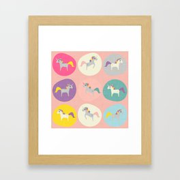 Cute Unicorn polka dots pink pastel colors and linen texture #homedecor #apparel #stationary #kids Framed Art Print
