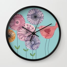 "Birdy blue ""Speak to me!"" Wall Clock"