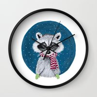 racoon Wall Clocks featuring Racoon by Sophie Pittaway