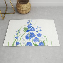 Blue Larkspur Watercolor Garden Flower Delicate Painting Rug