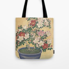 Blooming azalea in blue pot - Ohara Koson (1920 - 1930) Tote Bag