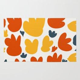 Heart Flowers Yellow Orange Blue Abstract Art Pattern Rug