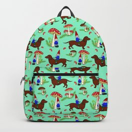 Gnome & Dachshund in Mushroom Land, Teal Background Backpack