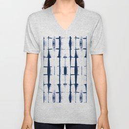 Shibori Stripes 4 Indigo Blue Unisex V-Neck