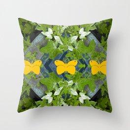 Three yellow butterflies Throw Pillow
