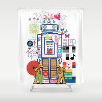 coldplay Shower Curtains featuring we live in a beautiful world by Giulia De grazi