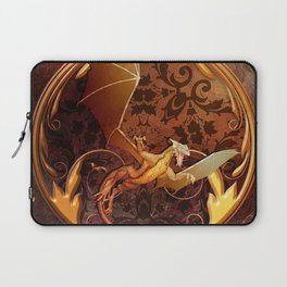 Gold Dragon Emblem on Faux Leather Laptop Sleeve