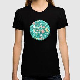 Dinosaurs + Unicorns on Teal T-shirt