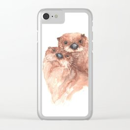 Snuggling Otters Clear iPhone Case