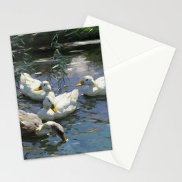 Four ducks in the pond by Alexander Koester, 1932 Stationery Cards